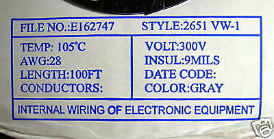 5m-IDC-Flat-Cable-16P-28AWG-105-C-300V-Gray-RoHS-Style-2651-VW-1-UL-RoHS