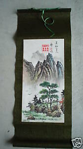 Vintage-Japan-Watercolor-Painting-Mountains-Wall-Hangin