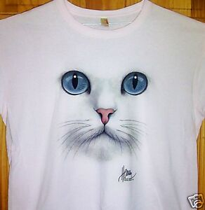 034-BLUE-CAT-EYES-034-Ladies-Lt-Pink-T-Shirt-Sz-SM-3XL-Awesome-Cat-Face