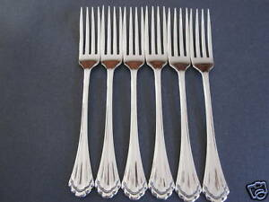 6-MARQUETTE-DINNER-FORKS-ONEIDA-NEW-18-8-STAINLESS