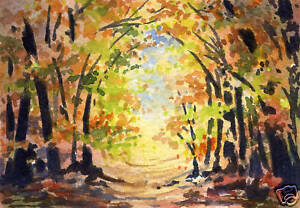 SUNLIT-PATH-ACEO-Miniature-Art-Print-on-W-C-Paper-Signed-by-Artist-DJR