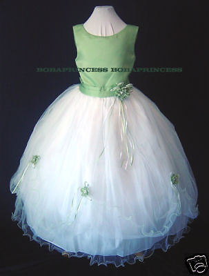 Flower Girl Pageant /holiday Party Dress Sage/white Size 4