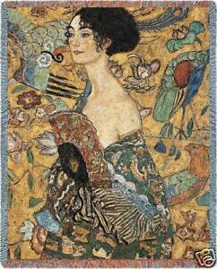 70x54-KLIMT-Lady-With-Fan-Asian-Tapestry-Throw-Blanket