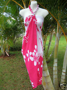 ba44a6e412cc Image is loading Hawaii-Pareo-Sarong-Pink-White-Plumeria-Hawaiian-Luau-