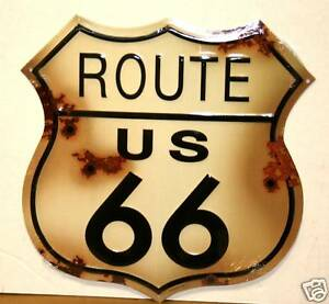 US ROUTE 66 ANTIQUED COMPLETE W/BULLET HOLES METAL SIGN