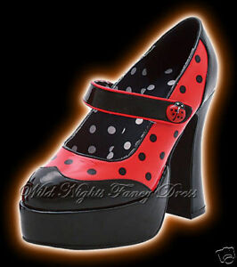 FANCY-DRESS-SHOES-LADYBUG-PLATFORM-SHOES-SIZE-7