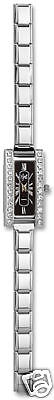 Watch Italian Charm Stainless Steel Modular Link Crystal Black Free Shipping New