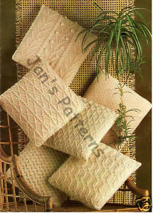 6 VINTAGE 1960s ARAN CUSHION COVERS KNITTING PATTERN