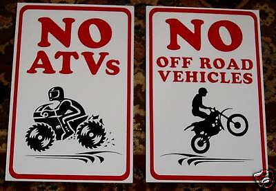 NO ATV MOTORCYCLE FOUR-WHEELERS SIGN ~ OFF ROAD