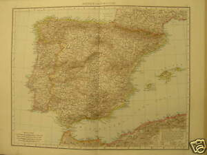 Antique-Large-map-Spain-Portugal-Espana-andrees-1887