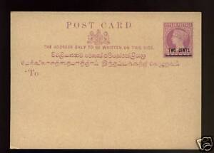 Ceylon-QV-2c-On-3c-Stationery-Post-Card-Mint