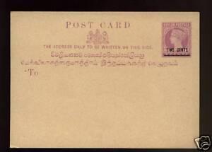 Ceylon-QV-2c-On-3c-Stationery-Post-Card-Mint