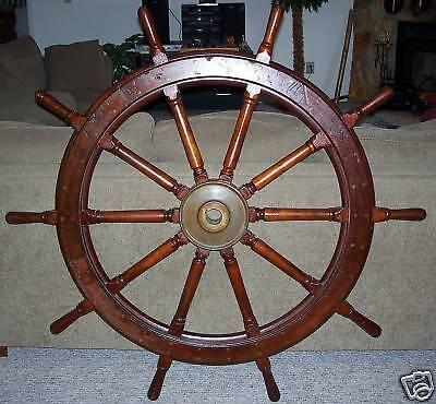 "U.S. NAVY Antique Wood Ship Wheel 54"""