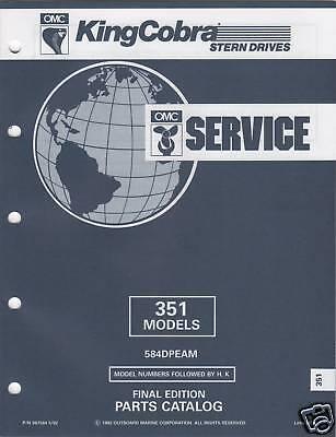 1993 Omc King Cobra Stern Drive 351 Model Parts Manual