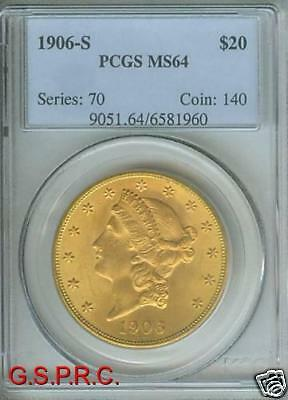 1906 S $20 LIBERTY DOUBLE EAGLE PCGS MS64 MS 64 ONLY FEW HIGHER  LY OFFERED