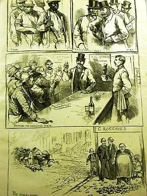 Election Day Voters Campaign Drinking 1883 Print Matted
