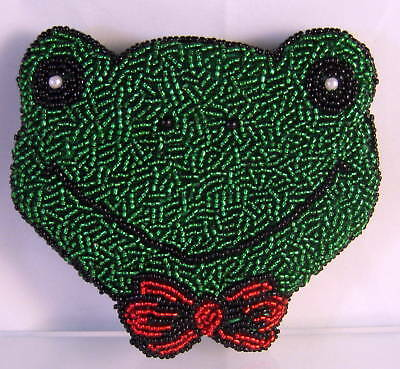 New Green Frog Face Shaped Red Bow Beaded Coin Purse Frogs