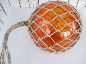 "12"" Yellow Glass Fishing Float ~ Fish Net Buoy ~ Nautical Maritime Decor"