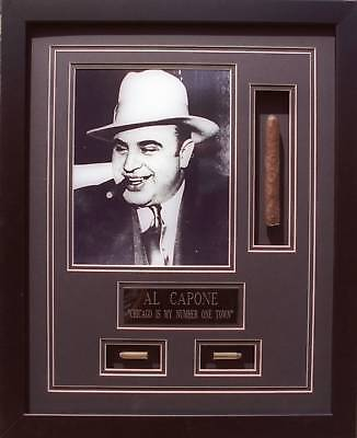 AL CAPONE WITH  CIGAR & BULLETS FRAMED 16X20