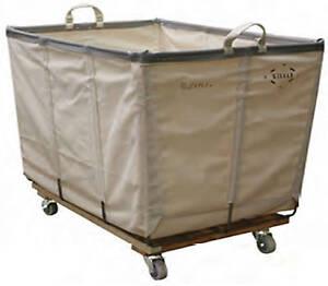 wht canvas laundry basket truck with wheels 6 bushel ebay. Black Bedroom Furniture Sets. Home Design Ideas
