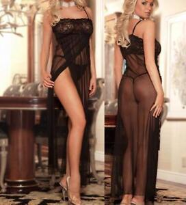 Sexy-Elegant-Black-Sheer-Lace-Lounge-Wear-Long-Gown