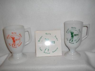 Vintage Bangor Daily News Paul Bunyan Amateur Golf Mugs   Matching Trivet 1970