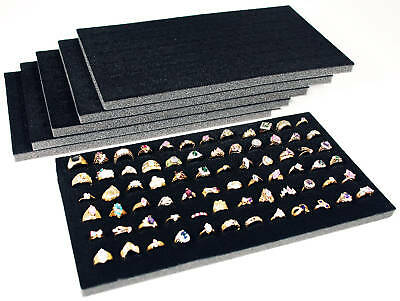 6 Piece Black Foam Ring Display Pads Each Holds 72 Rings Jewelry Displays