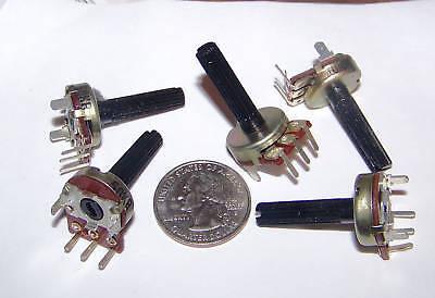 5pc 50k Ohm Linear Taper Pot Pc Pins, Long Shaft, Knurled Split, Potentiometer I