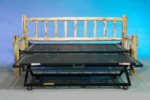 log day bed with pop up trundle bed new. Black Bedroom Furniture Sets. Home Design Ideas