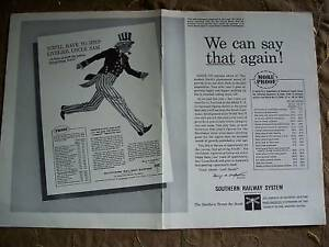 1960 Southern Railway System Uncle Sam Patriotic Art Ad