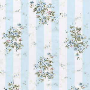 COTTON-DRESS-BEDCLOTHES-FABRIC-SHABBY-PINK-FLORAL-STRIP