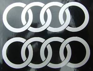 2 x silver audii ring s car stickers graphic stickers audi
