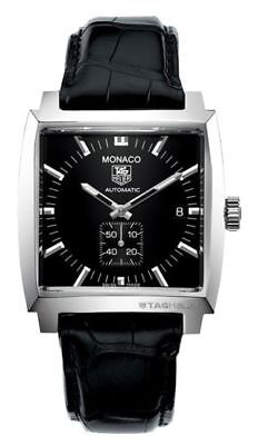 AUTNENTIC TAG HEUER MONACO AUTOMATIC BLACK LEATHER MENS WATCH WW2110.FC6177