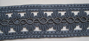 Gorgeous Antique French Trim Blue/Grey Open Blossom