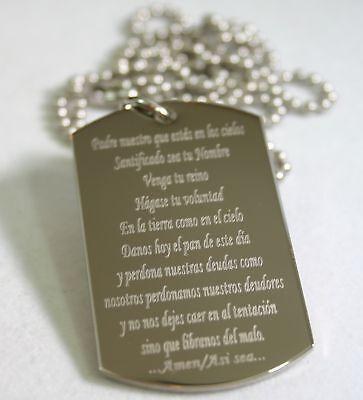 4985c11f6c018 LORD'S PRAYER OUR FATHER SPANISH Oración del Señor española DOG TAG ...