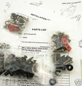 NEW-09-10-YZFR1-R1-SILVER-COMPLETE-FAIRING-BOLTS-KIT