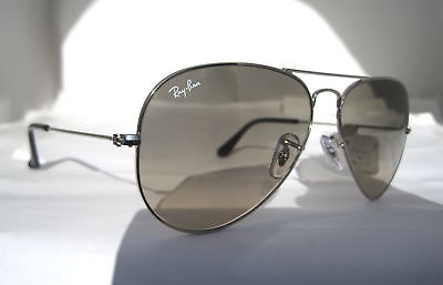 Rayban Silver Aviator Rb 3025 Color 003/32 Sunglasses Authentic Grey Lens
