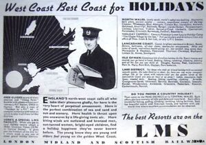 Vintage-Pre-WW2-LMS-Holidays-Advert-1939-Railway-Ad