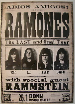 RAMONES CONCERT TOUR POSTER 1996 ADIOS AMIGOS