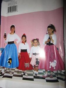 Vintage-Butterick-SEWING-Pattern-4113-Girls-Poodle-Skirt-Halloween-Costume-UNCUT