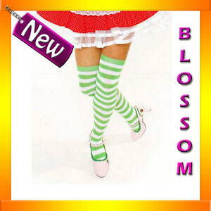 8079-Strawberry-Fancy-Costume-Green-Stripes-Stockings