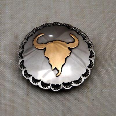 21/2 Nickel Silver&brass Overlay Concho Buffalo Skull