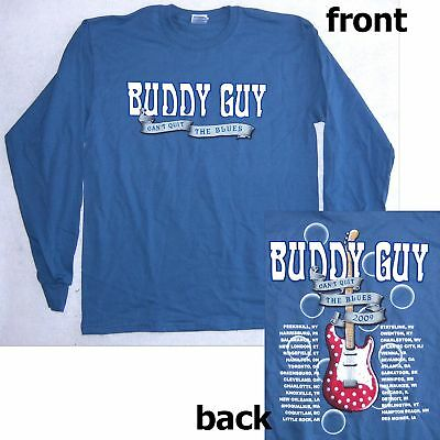 BUDDY GUY! CAN'T QUIT 2009 TOUR BLUE L/S SHIRT M NEW