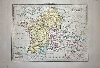 1833 Genuine Antique map of Ancient France. Malte-Brun
