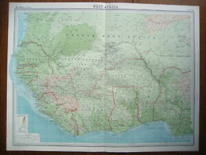 AFRICA-WEST-GENUINE-BARTHOLOMEW-COLOUR-MAP-1922