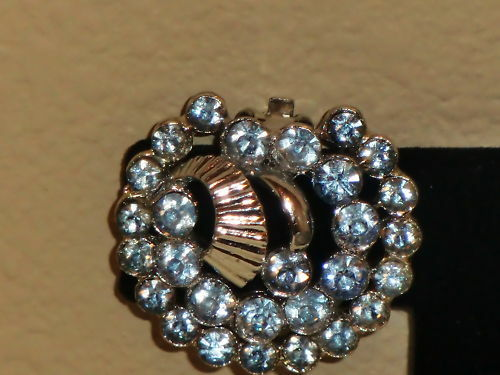 Vintage Claudette Lt Blue Brilliant Cut Rhinestone Silvertone Clip Earrings