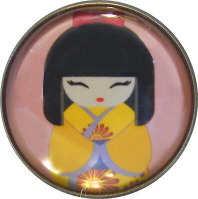 Japanese Kokeshi Doll Crystal Dome Button 9