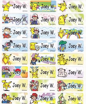72 Pokemon/pikachu Custom Waterproof Name Labels-school (buy 5 Get 1 Free)