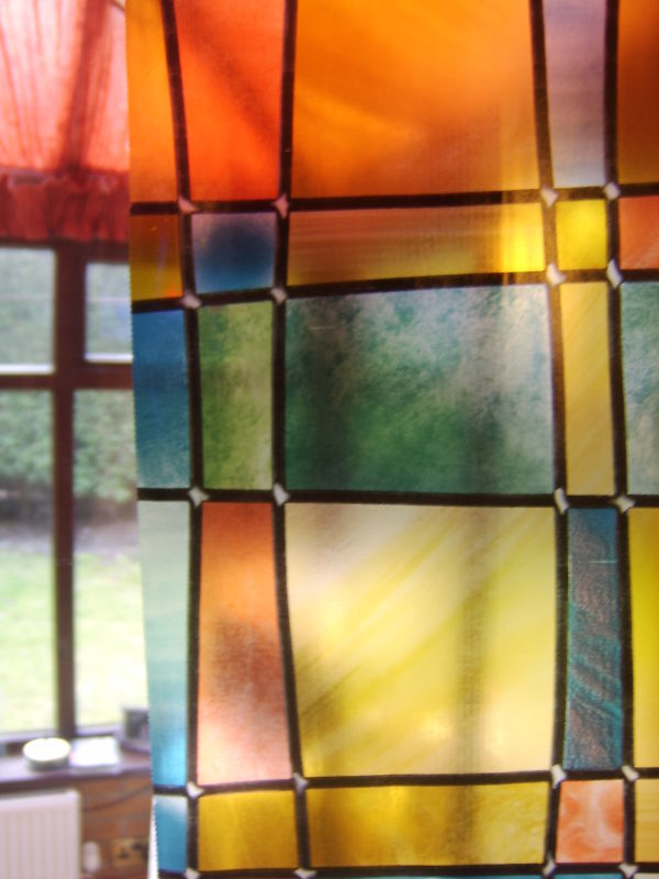 stained glass window covering self ad vinyl film stickyback fab11806 ebay. Black Bedroom Furniture Sets. Home Design Ideas