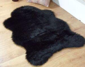 Black Faux Fur Sheepskin Style Rug 70 x 100cm Washable